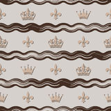 Seamless background with the image of abstract waves, crowns and monograms. For design Stock Image