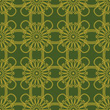 Seamless background image of green golden round flower cross line pattern. Royalty Free Stock Photography