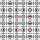 Seamless background image of grey round geometry red flower pattern. Stock Photo