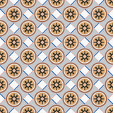 Seamless background image of square check round geometry flower Royalty Free Stock Photos