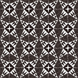 Seamless background image of vintage black white cross triangle line geometry pattern. Stock Photos