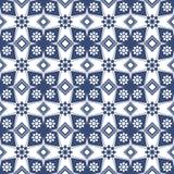 Seamless background image of vintage blue flower square geometry pattern. vector illustration
