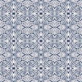 Seamless background image of vintage blue round cross outline geometry pattern. Royalty Free Stock Images