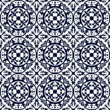 Seamless background image of vintage blue round curve geometry kaleidoscope pattern. Stock Images