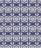 Seamless background image of vintage blue round flower leaf cross polygon pattern. Royalty Free Stock Images