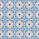 Seamless background image of vintage blue star geometry kaleidoscope pattern. Royalty Free Stock Image