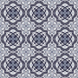Seamless background image of vintage blue tone round curve square kaleidoscope pattern. Royalty Free Stock Image