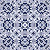 Seamless background image of vintage blue tone spiral round cross dot kaleidoscope pattern. Stock Photography