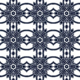 Seamless background image of vintage blue triangle cross round geometry pattern. Royalty Free Stock Images