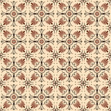 Seamless background image of vintage brown round flower fan shape pattern. Royalty Free Stock Photo