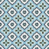 Seamless background image of vintage cross blue flower kaleidoscope pattern. Stock Photos