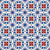 Seamless background image of vintage cross blue heart kaleidoscope pattern. Stock Photo