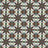 Seamless background image of vintage golden outline flower kaleidoscope pattern. Stock Photography