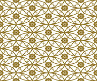 Seamless background image of vintage golden round oval cross flower pattern. Stock Photography