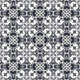 Seamless background image of vintage gray tone round square cross kaleidoscope pattern. Royalty Free Stock Photo