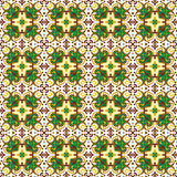 Seamless background image of vintage green brown round kaleidoscope pattern. Stock Photo