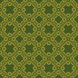 Seamless background image of vintage green golden ribbon cross  Royalty Free Stock Photography