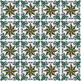 Seamless background image of vintage green leaf spiral vine spine flower pattern. Royalty Free Stock Images
