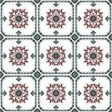 Seamless background image of vintage green round frame red spiral flower pattern tile. Stock Images