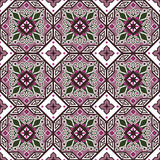 Seamless background image of vintage purple octagon geometry flower kaleidoscope pattern. Stock Images