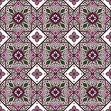 Seamless background image of vintage purple octagon geometry flower kaleidoscope pattern. Stock Images