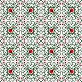 Seamless background image of vintage red flower green vine kaleidoscope pattern. Royalty Free Stock Image
