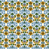 Seamless background image of vintage round curve flower leaf kaleidoscope pattern. Stock Photos
