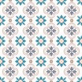 Seamless background image of vintage round flower dot kaleidoscope pattern. Stock Photo