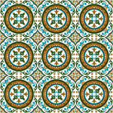 Seamless background image of vintage round spiral flower vine plant kaleidoscope pattern. Stock Image