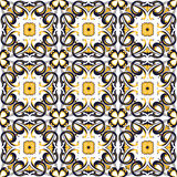 Seamless background image of vintage spiral round curve square flower kaleidoscope pattern. Royalty Free Stock Image
