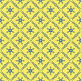 Seamless background image of yellow blue cross line flower Stock Image