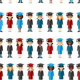 Seamless background of international graduate. Royalty Free Stock Photos