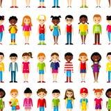 Seamless background of international set children. stock illustration