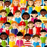 Seamless background of international set children. Stock Photography