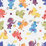 Seamless background with iridescent elephants. On gray Stock Images