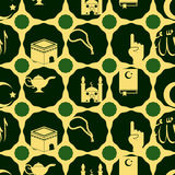 Seamless background with islamic icons Stock Image