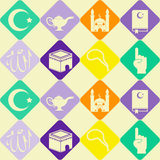 Seamless background with islamic icons Stock Photo