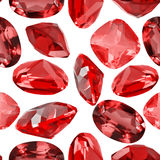 Seamless background from isolated red ruby gems Stock Photography