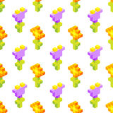 Seamless background of isometric flowers. Royalty Free Stock Photo