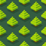 Seamless background of isometric forest. Stock Image