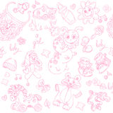 Seamless background its a girl with toys doodle Royalty Free Stock Images