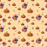 Seamless background with jack-o-lantern and candy. Illustration vector illustration