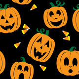 Seamless Background of Jack O'lanterns and Candy Corn Royalty Free Stock Image