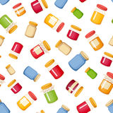 Seamless background with jam jars. Vector illustration. Stock Image