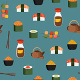Seamless background on japanese cuisine theme. For your design Stock Photos