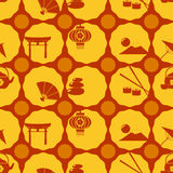 Seamless background with  japanese symbols Stock Photo