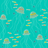 Seamless background with jellyfish Stock Image