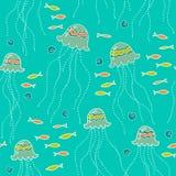 Seamless background with jellyfish. Marine seamless background with jellyfish Vector Illustration