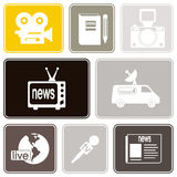 Seamless background with journalism icons Royalty Free Stock Images