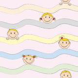 Seamless background with joyful faces of children. You can use it for background, splash screen, cover, or forging paper Royalty Free Stock Photography